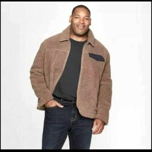 Men's jacket sherpa brown warm and cozy jackets